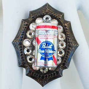 PABST BLUE RIBBON CAN RHINESTONE RING